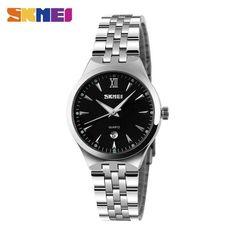 213741a05d8 Skmei Men Women Stainless Steel Quartz Wristwatches Top Brand Calendar Fashion  Watch Waterproof Sport Watches Relogio Masculino
