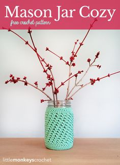 Mason Jar Cozy | Free Crochet Pattern by Little Monkeys Crochet (lwww.littlemonkeyscrochet.com)