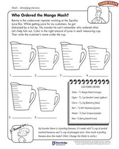 Who Ordered the Mango Mash – Math Worksheets on Fractions for Kids – JumpStart Grade 5 Math Worksheets, Christmas Math Worksheets, Fun Worksheets For Kids, Math Coloring Worksheets, Printable Math Worksheets, Free Printable, Printables, Math Conversions, Fifth Grade Math