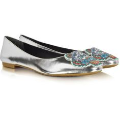 Kenzo Metallic Leather Tiger Ballerina