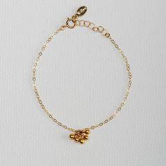 Ari Cluster Chain Bracelet.14k vermeil ball cluster hangs from a dainty 14k gold fill chain bracelet.   #Vilingdesigns #daintyjewelry #bracelets #womensfashion #style #handmade #handcrafted #gold #armcandy