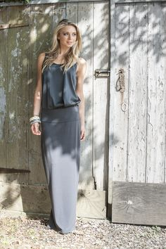 Eileen Fisher silk vest, maxi skirt, bangles from Cordelia James