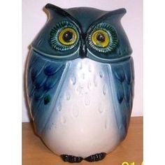 abstract owl mid century | California--Metlox (Poppy Trail) Blue Owl Cookie Jar
