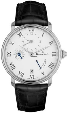 Blancpain Villeret 8 Days Half Timezone $35,520 #Blancpain #watch #watches #luxury #chronograph white gold case with crocodile skin bracelet and automatic movement