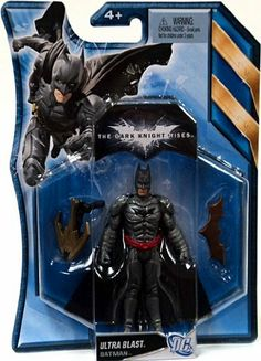 "Batman The Dark Knight Rises Ultra Blast Batman 4 Inch Scale Action Figure by Mattel. $4.49. Includes: One Batman Dark Knight Ultra Blast Action Figure and 2 Accessories.. Dimensions: Approximately 4.5"" Tall. In THE DARK KNIGHT RISES, the villain BANE battles BATMAN in epic fashion. This assortment of five figures gives fans of the movie the ability to relive those scenes and create new adventures with BANE and different versions of BATMAN. Each figure comes with accessories. ..."