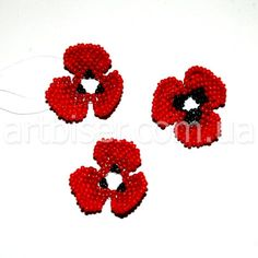 Объемные маки | biser.info - всё о бисере и бисерном творчестве Crochet Earrings, Beaded Necklace, Beaded Flowers, Bead Art, Poppies, Jewerly, Flora, Projects To Try, Beads