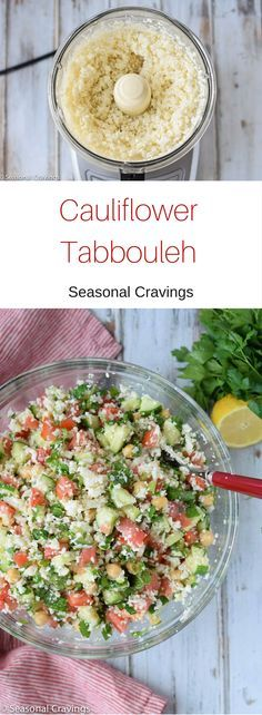 This super healthy Cauliflower Tabbouleh will make you feel like you are on the right track.  It is full of bright vegetables and tossed with a lemony, garlic dressing.  Make this for ahead for lunches and feel good about eating your veggies.