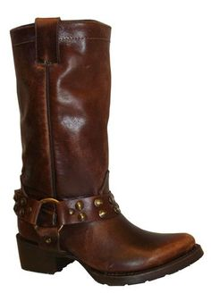 Corral Boots : Sierra Tan Tall Harness Boots With Brass Studs
