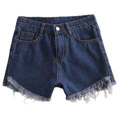 5c672df982 Vintage Style Ripped Bottom Demim Shorts Hot Short Jeans, Denim Fashion,  Fashion Shorts,