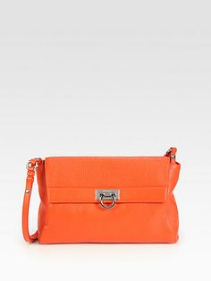 Salvatore Ferragamo - Mvit Safari Abbey Shoulder Bag in orange or black pebbled leather