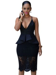 Black Crossover Straps Floral Lace Overlay Peplum Dress