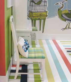 Check Out This Great Striped Vinyl Floor For The Kids Rooms It Reminds Me