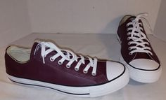NEW MEN'S CONVERSE BURGUNDY LEATHER CHUCK TAYLOR ALL STAR LO SNEAKERS SIZE 11.5 #CONVERSE #BasketballShoes