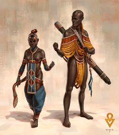 """ArtStation - The Exile of Water - Main characters At and Ol, Alexander """"Minze"""" Thümler Fantasy Character Design, Character Concept, Character Art, Concept Art, Fantasy Inspiration, Character Inspiration, African Mythology, Black Cartoon, Africa Art"""