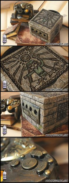 Custom Nintendo GameCube - The Legend Of Zelda: The Wind Waker [RELIC] by Vaduamka. I can super appreciate this and the time that went into this! It looks pretty awesome! The Legend Of Zelda, Super Nintendo, Nintendo Games, Gamecube Games, Nintendo 64, Objet Wtf, Videogames, Geeks, Bartop Arcade