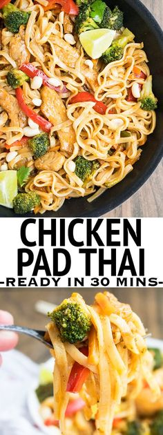 This easy CHICKEN PAD THAI recipe from scratch makes a simple 30 minute weeknight meal. Packed with spicy flavors and lots of peanuts and tamarind, this authentic chicken Pad Thai is as good as take out. From cakewhiz.com: