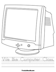 Computer Lab Coloring Page - Twisty Noodle Sequencing Worksheets, Printable Math Worksheets, Worksheets For Kids, Printables, Computer Teacher, Computer Lab, Monitor, Place Value Worksheets, Kindergarten Freebies