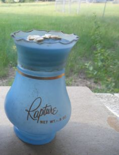 Avon Vtg '60s Rapture Perfume Powder Shaker WHITE DOVE BIRDS BLUE Bottle '64