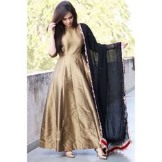 Make an impression as you adorn this golden and navy blue plain semi stitched taffeta long anarkali suit. Indian Designer Outfits, Indian Outfits, Designer Dresses, Anarkali Dress, Anarkali Suits, Long Anarkali, Black Anarkali, Lehenga, Trendy Dresses