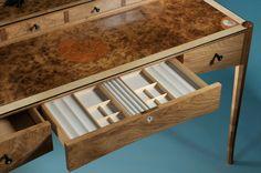Walnut dressing table by Nick Thwaites Furniture. Bespoke Furniture, Fine Furniture, Furniture Making, Dressing Table Mirror, Dressing Tables, Chair Bed, Bookcase, Shelves, Lights
