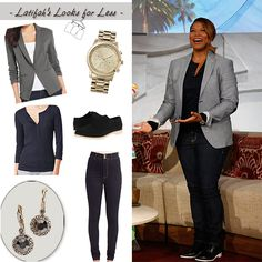 Queen Latifah's Look for Less: Sept 20 - grey blazer over a henley,  skinny jeans, and black oxfords