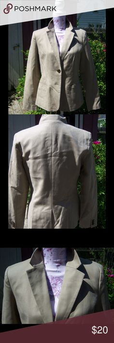 Merona Camel Blazer NWT Cleaning out my hoarding closet! Lol.  Very versatile camel/tan blazer.  Can be dressed up or down.  Last photo shows styling option.  70% polyester 25% rayon 3% wool 2% spandex.  Smoke free home. Merona Jackets & Coats Blazers