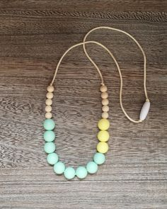 Gumdrop Beaded Silicone Teething Necklace in Springtime. BPA Free, Food Grade Silicone, Non Toxic, Breakaway Clasp