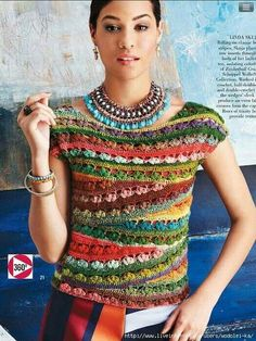 Zauberball® Crazy Ballet-neck Tee from Vogue Knitting Crochet Issue 2014 Schoppel-Wolle Skacel Pull Crochet, Mode Crochet, Knit Crochet, Ravelry Crochet, Crochet Tops, Vogue Knitting, Freeform Crochet, Crochet Woman, Crochet Blouse