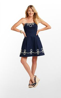Blossom Dress in True Navy Anchor Jacquard $228 (w/o 7/15/12) #lillypulitzer #fashion #style