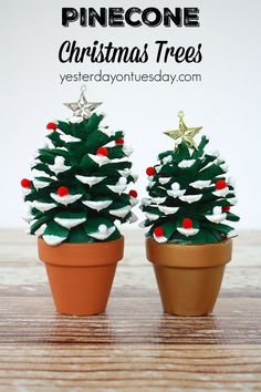 This is a cute Christmas craft for the kids! Pinecone Christmas Trees, a fun pinecone craft for kids or adults Pine Cone Christmas Tree, Christmas Projects, Simple Christmas, Christmas Holidays, Christmas Gifts, Christmas Ideas, Christmas Inspiration, Christmas Traditions, Christmas Recipes