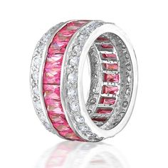 Bling Jewelry Sterling Silver Channel-Set Pink CZ Wide Etern $59.99 i want it