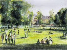 Watercolor / Aquarelle – Le jardin public – Bordeaux Peinture à l'aquarelle. Format 24x32cm....