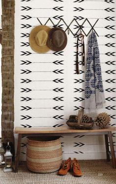 Tapestry Wallpaper in Zuni design by Cavern Home. Inspired by Native American arrows and fabric texture, Tapestry features a repeated, large-scale, horizontal arrow. Available in grey or cream tones. Home Design, Diy Design, Wall Design, Design Ideas, Small Home Interior Design, Steps Design, Design Room, Modern Interior, Creative Design