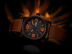 Citizen Brown strap watch with orange batons and numbers. If you like to be different this is certainly an eye-catching watch Cool Watches, Watches For Men, Citizen Eco, Telling Time, Omega Watch, Jewels, Citizen Watches, Quartz Watches, Accessories