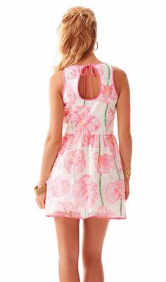 Lilly Pulitzer Darcelle Full Skirt Party Dress in Resort White/Pink Clover Cup
