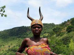 Tamberma (Batamariba) woman wearing antelope headdress, Togo