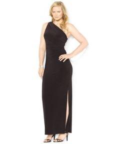 Black Lauren Ralph Lauren Plus Size Dress - One-Shoulder Brooch Gown.jpg
