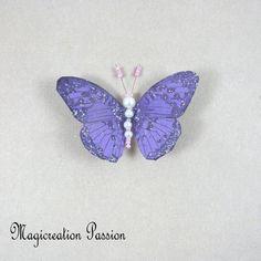 Magnet décoratif papillon soie violet +1 aimant , collection gallia - Un grand marché Violet, Insects, Montage, Dimensions, Magnets, Boutique, Collection, Playing Card, Je T'aime