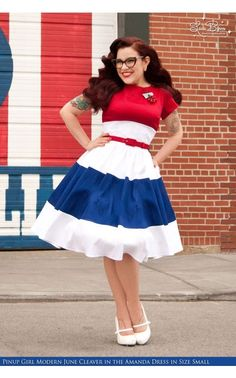 Amanda Dress in Red White and Royal Blue