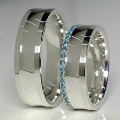 Gold wedding rings with Blue Diamonds v127