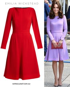 Emilia Wickstead 'Kate' dress aso seen on Duchess of Cambridge now available in red. Click to shop
