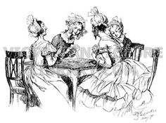 Card game. Victorian illustration to download showing a picture of four women playing cards sitting round a card table. They are all wearing frilly caps and gossip as they play. Download high quality jpeg for just £5. Perfect for framing, logos, letterheads, and greetings cards.