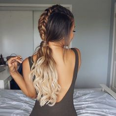 Loving Ashley's dutch braids that falls into long loose curls!! Her ombre hair makes the perfect base for any feminine hairstyle!