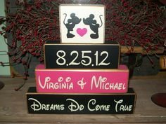 Personalized Mickey & Minnie Mouse Wood Sign Blocks  Family Names Est. Dates Distressed Decor via Etsy.