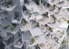Arbre Blanc : un gratte-ciel design à Montpellier pour 2017. Ici un détail des balcons.