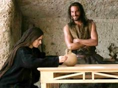 "Images of Jesus...which do you connect with?  Jim Caviezel as Jesus in ""The Passion of Christ"". This was my favorite scene, showing the human side of Jesus and His sense of humor."