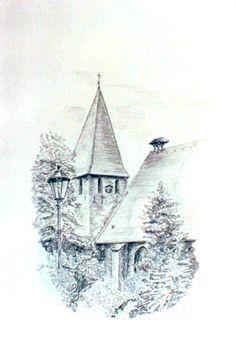 Ebstorf Klosterkirche - Bleistift und Aquarell Farbstift - 1997   ©Manfred Cremer, Bensberg, DE