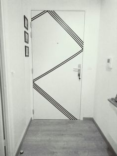 DIY door design with masking tape