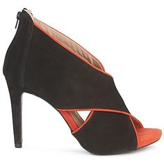 Sandalen Morgan CROSSIMA Zwart / Orange Heeled Mules, Peeps, Peep Toe, Amazing, Shoes, Fashion, Clock, Sandals, Moda