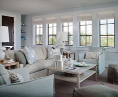 House of Turquoise: SummerHouse Interior Design - relaxing & calm beach inspired living room